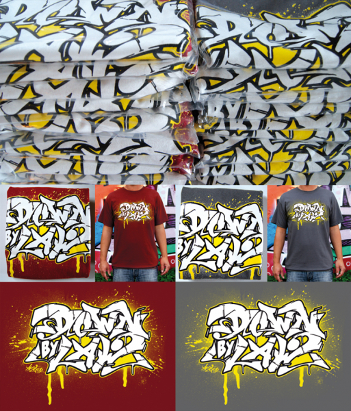 Downbylaw Akte Scetch Graffiti T-Shirt / Dunkelrot