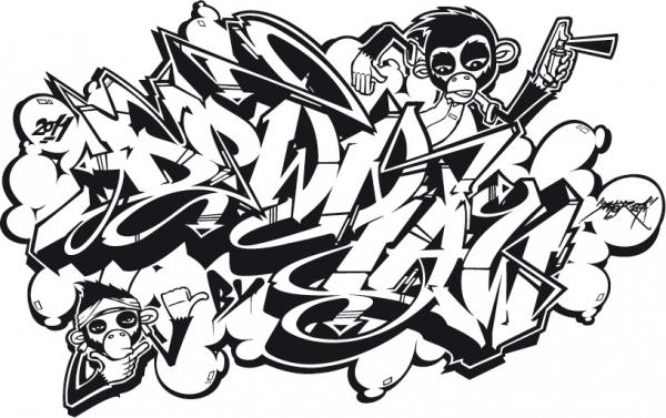 Downbylaw Dater Scetch Graffiti T-Shirt / Sport Grau