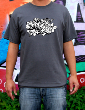 Downbylaw Dater Scetch Graffiti T-Shirt / Dunkelgrau