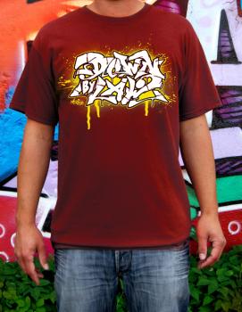 Downbylaw Akte Scetch Graffiti T-Shirt / Dunkelrot